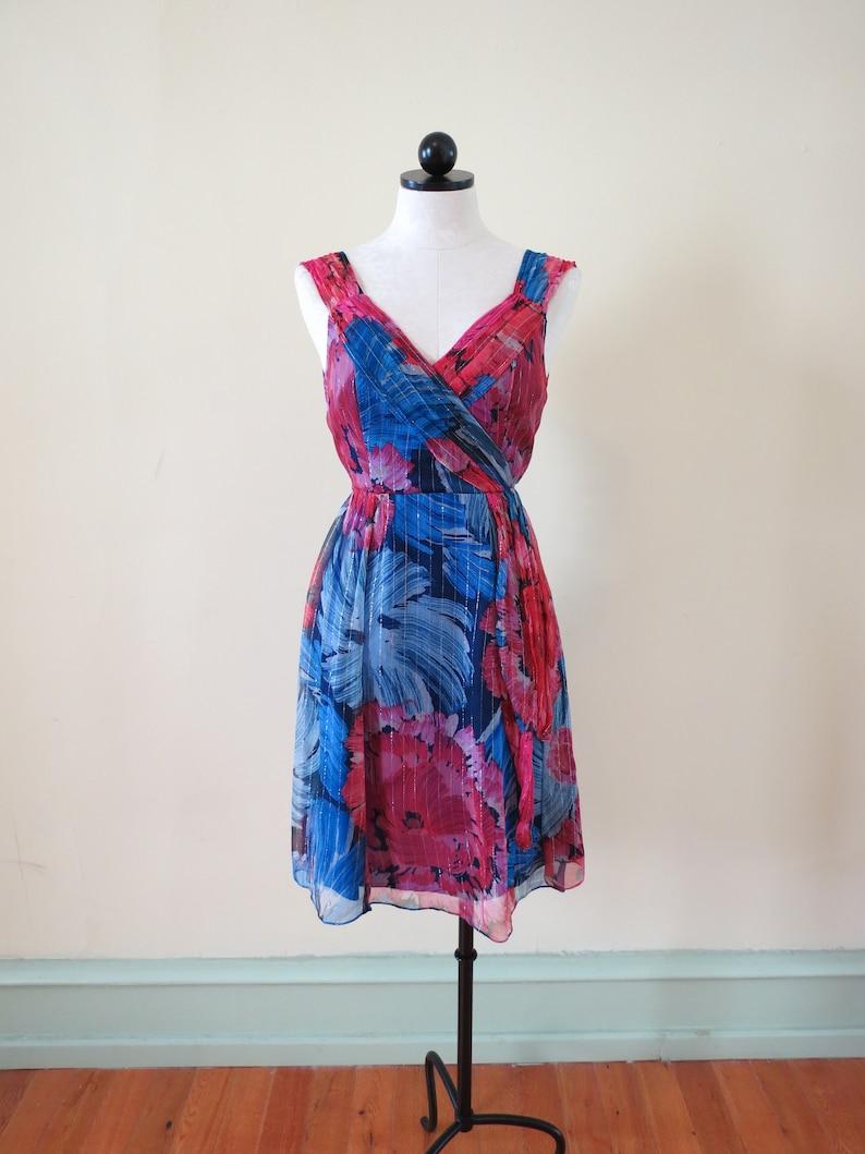 8d0035f9f0 NANETTE LEPORE Floral Metallic Silk Dress