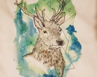 0dc3e8962 Stag tea towel#deer#nature#watercolour#art#forest#abstract#nature