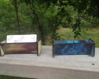 Custom Made Glass Business Card Holder for Desk