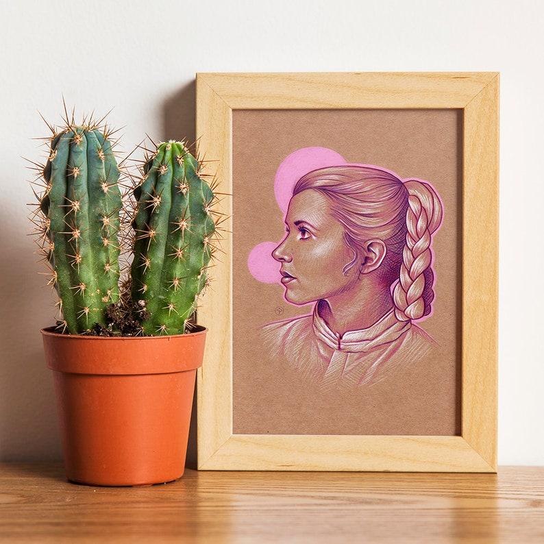 Mini ART PRINT A5 Princess Leia  Illustration leia print image 0