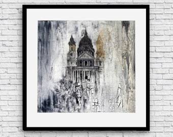 St Paul's Cathedral, London Poster, Wall Art Prints, London Print, Drawing Print, Abstract Art, Poster Print, Wall Art, Painting Prints