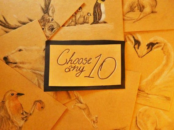 Süße Karten-Set von 10 handgezeichneten Karten | Etsy