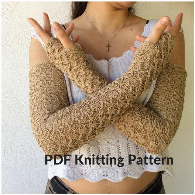 Fingerless Gloves Knitting Pattern Knit Lace Glove Pattern Etsy