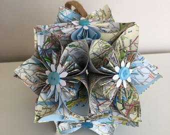 Kusudama Flower Ball Map Flowers Handmade Paper Recycled Maps Gifts