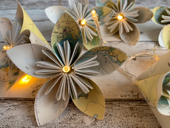 Sea Chart Paper Flower Fairy Lights Recycled Sea Charts Etsy