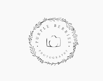 Premade Logo Photography Wreath Camera Floral Flower Leaf Rustic Round Circle P25