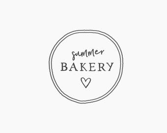Premade Logo Heart Round Circle Bakery For Cakes Vintage Rustic Handdrawn