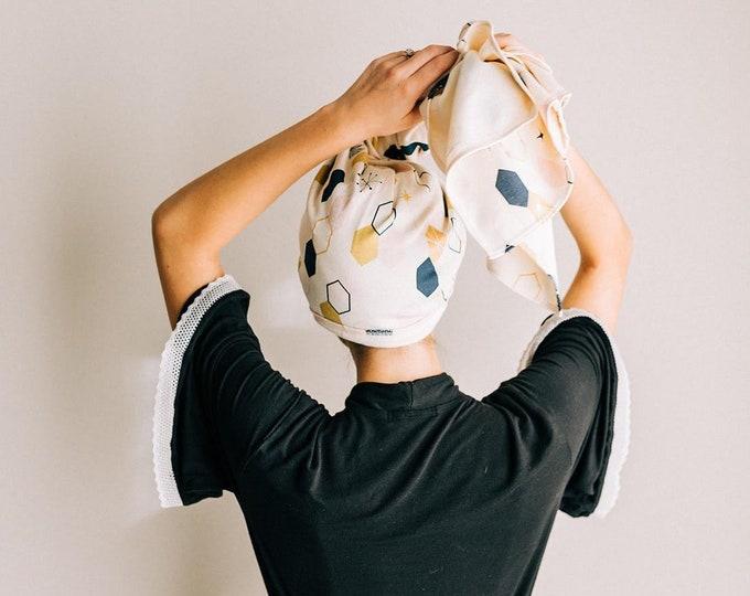 art deco | gold metallic accents | organic cotton t-shirt hair towel