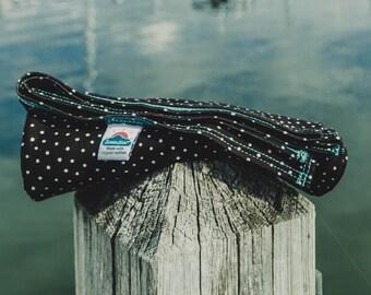 black w/ white polka dot | organic cotton t-shirt hair towel
