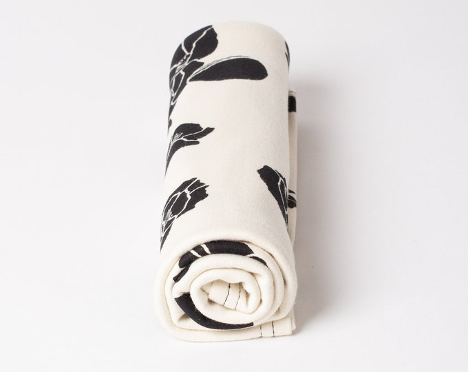 black floral | organic cotton t-shirt hair towel