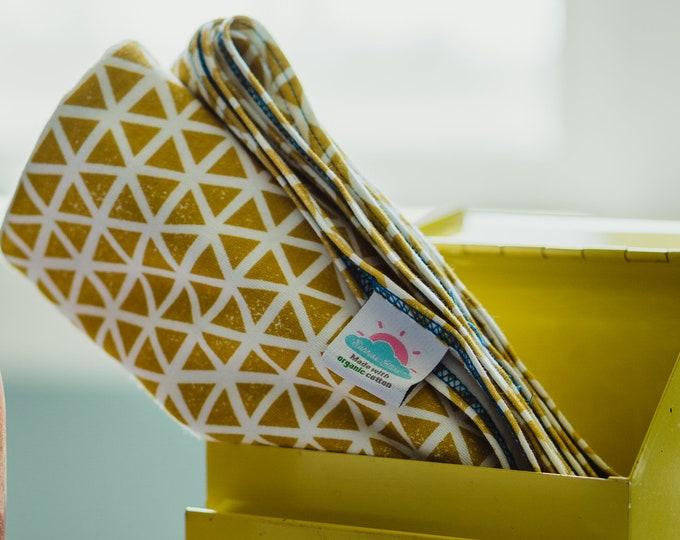 citron triangles | organic cotton t-shirt hair towel