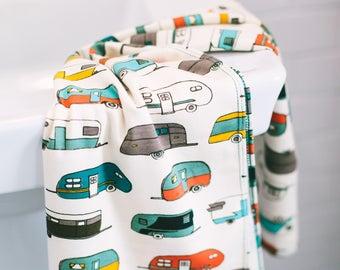 vintage camper | organic cotton t-shirt hair towel