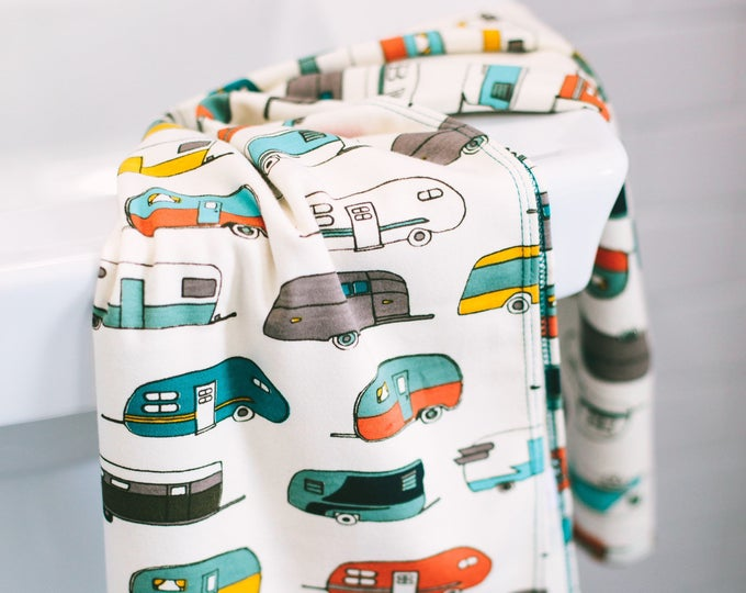 vintage camper | organic cotton t-shirt hair towel