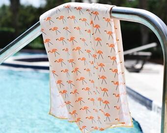 OUTLET SALE | flamingo | organic cotton t-shirt hair towel