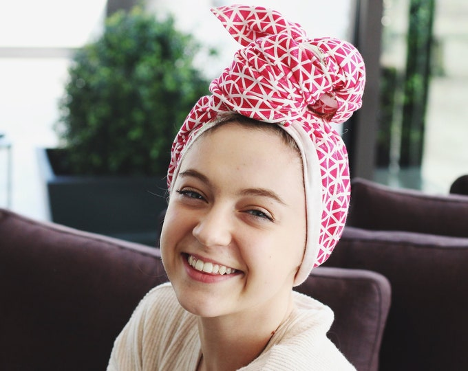 hot pink triangles | organic cotton t-shirt hair towel