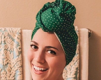 green w/ white polka dot | organic cotton t-shirt hair towel