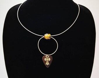 Cross, Guitar Pick Necklace, Guitar String, Guitar Necklace, Religious Symbol, Music Jewelry, Unique Jewelry, Do Re Mi, Doremi, Guitar