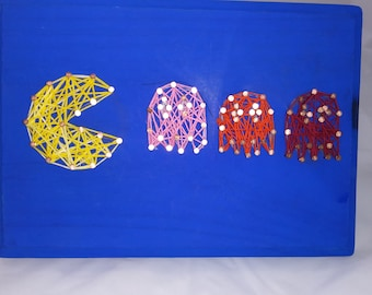 Pacman and ghosts string art