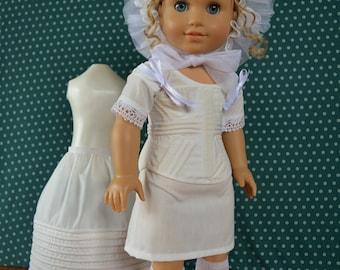 Doll Clothes 1830's Undergarments for 18'' doll Shift Corset Petticoat Ruffled Cap