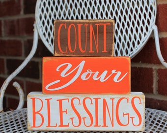 fall blessings sign, fall mantel decor, count your blessings, fall home decor, blessings sign, fall mantel sign