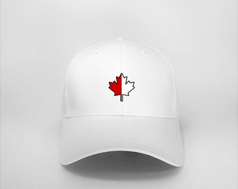 679ca8cf70 Hat, White or Black, Cap, CANADA, Maple Leaf Red and White.