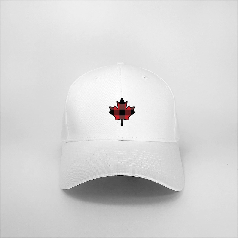 c017dd684 Hat, White or Black, Cap, Maple Leaf, Red and Black checked pattern.