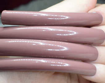 Beige Fake Nails, Super Long Curved False Nails, Hand Painted Decorated Press On Nails, Extra Long Nails, Nail Designs, 20 Nails Glue on