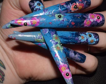 Blue Fake Nails Super Long Stiletto False Hand Painted And Decorated Press On Extra Floral Nail Designs 20