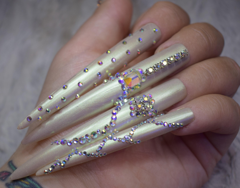 White Pearl Crystal Fake Nails Super Long Stiletto False ...