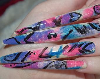 Pink Graffiti Fake Nails, Super Long Stiletto False Nails, Hand Painted And Decorated Press On Nails, Extra Long Nails, Floral Nail Designs