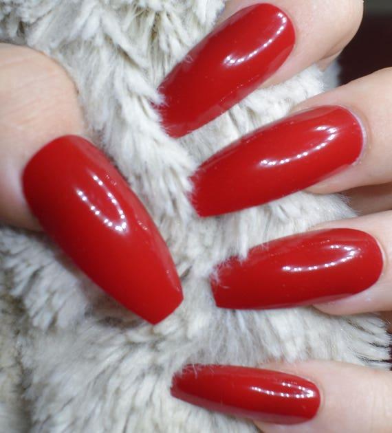 Bright Red Fake Nails, Long Coffin False Nails, Hand Painted Press ...