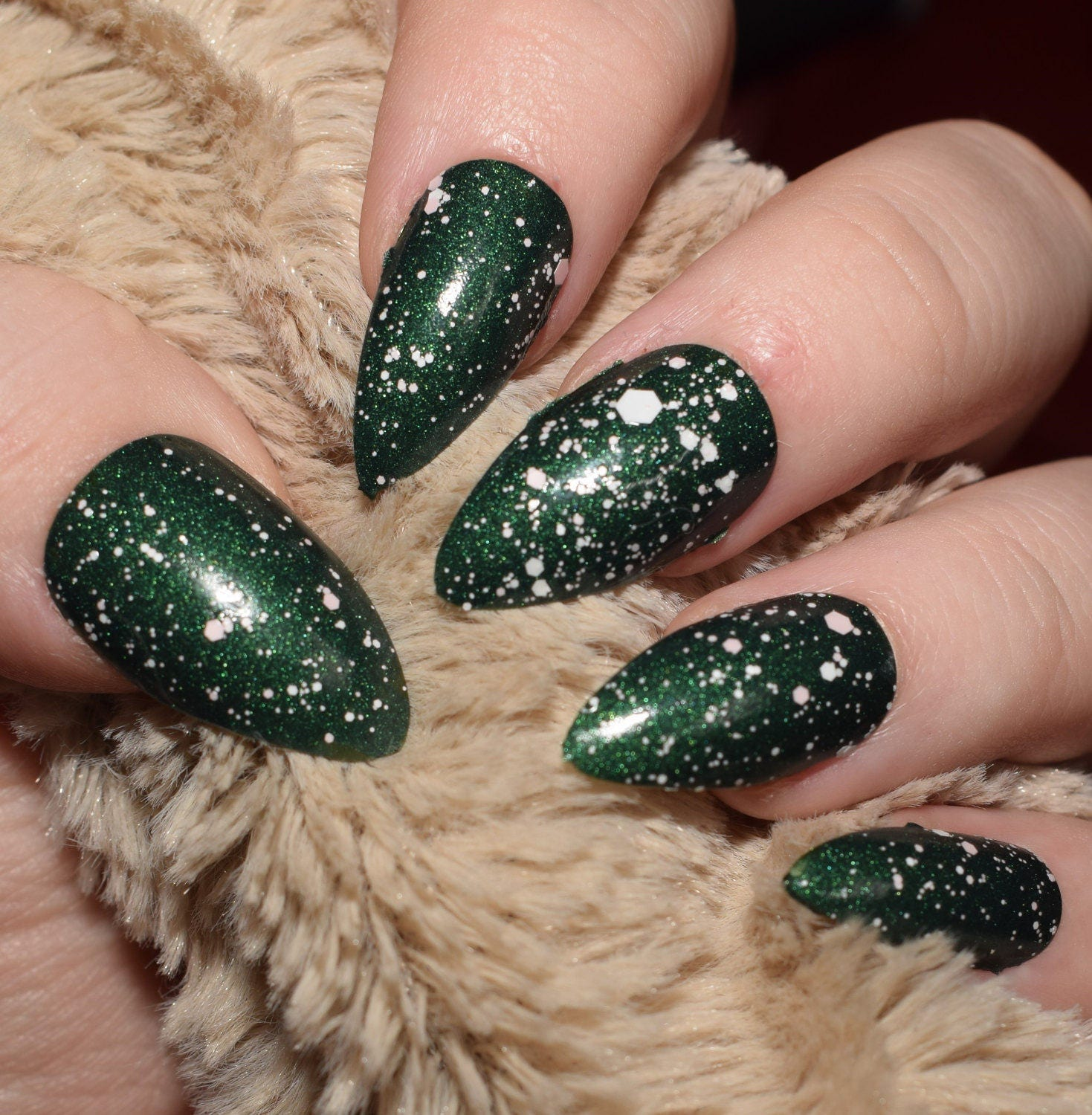 Green Fake Nails, Long Stiletto False Nails, Hand Painted Press On ...