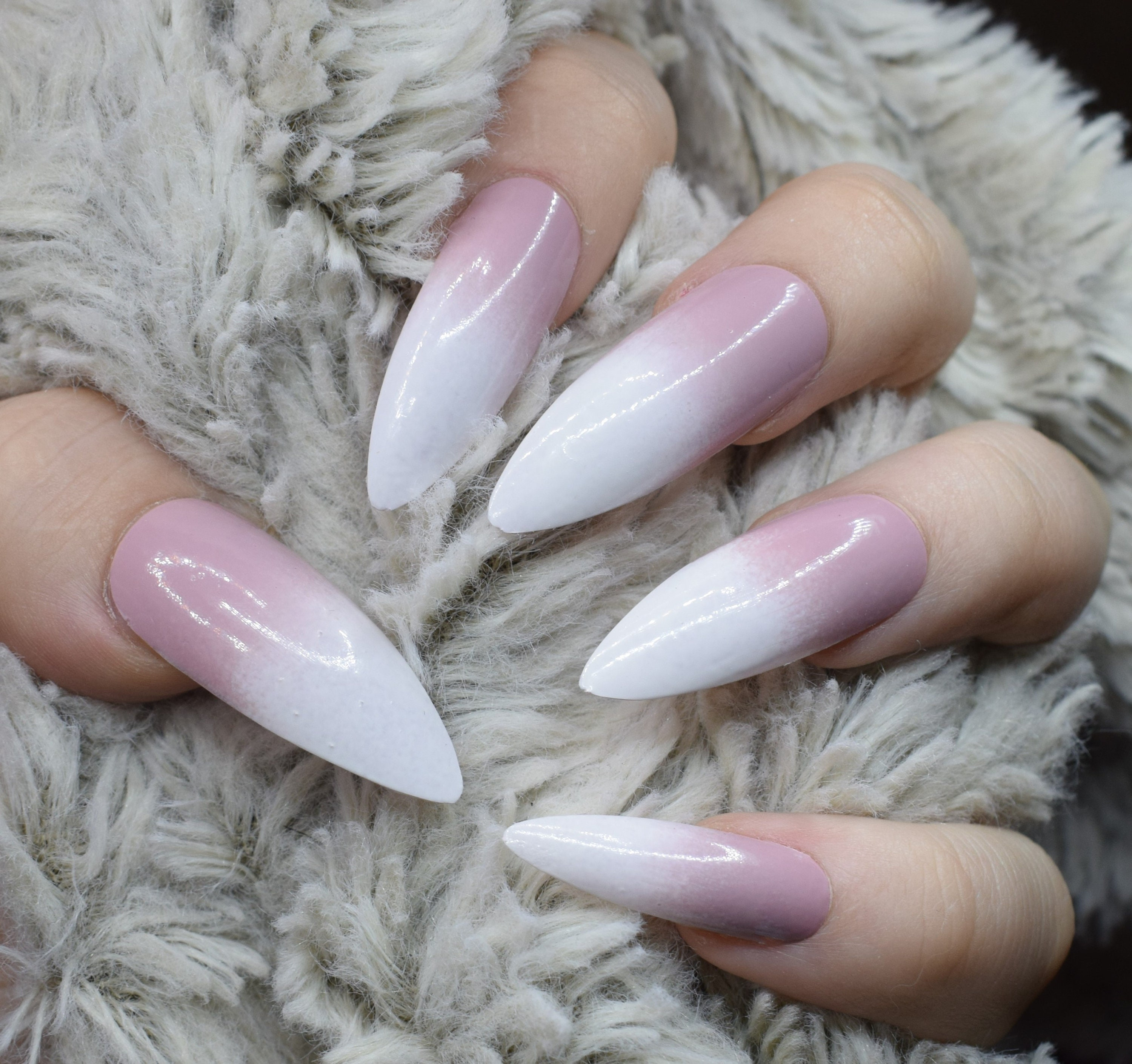 Pink French Gradient Tips Fake Nails, Extra Long Stiletto False ...
