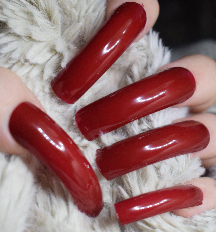 Red Fake Nails, Extra Long Curved False Nails, Hand Painted Nails ...