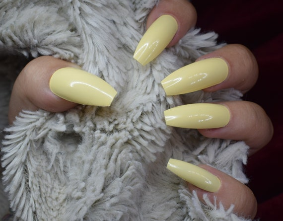 Pastel Yellow Fake Nails, Long Coffin False Nails, Hand Painted Press On  Nails, Long Nails, Nail Designs, 20 Full Cover Nails, Glue On Nails