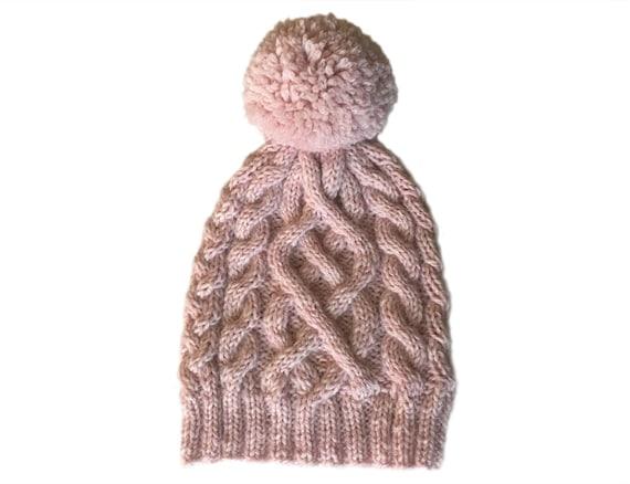 Pastel Pink Pom Pom Beanie   Womens Pom Pom Hat   Ski Hat    83b27a097e4
