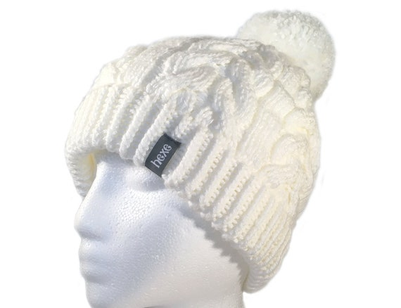 White Beanie   Womens Pom Pom Hat   Cable Knit Hat   Beanie  51c5d64052