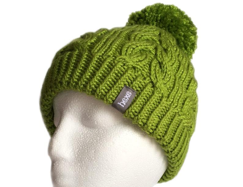 f2594b2966f Green Beanie   Womens Pom Pom Hat   Ski Hat   Hand Knitted