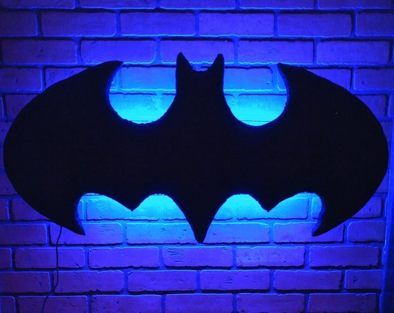 Batman Led Backlight Floating Headboard Color Changing Led Etsy