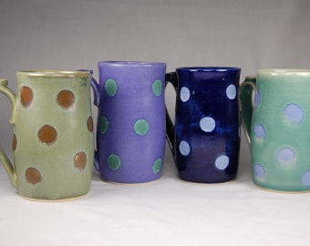 Hand made 20 oz polka dot mug - various colors