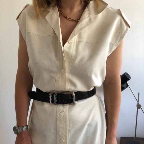 Vintage raw silk shirt dress. Originally women's s