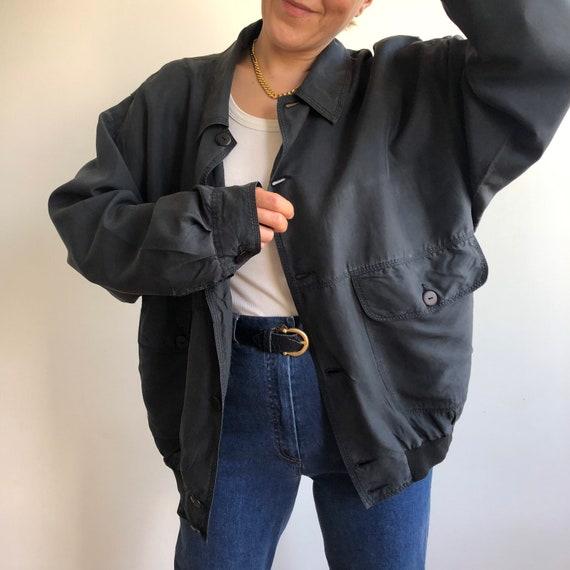 Vintage silk bomber jacket. Originally women's si… - image 4