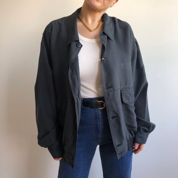 Vintage silk bomber jacket. Originally women's si… - image 5