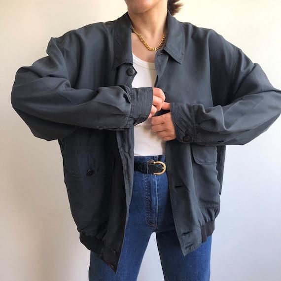 Vintage silk bomber jacket. Originally women's si… - image 6
