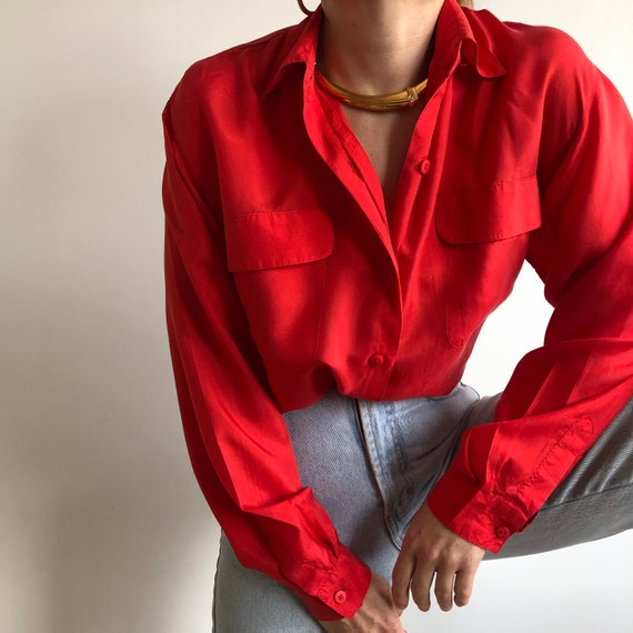 Vintage silk shirt / button up. Originally women's