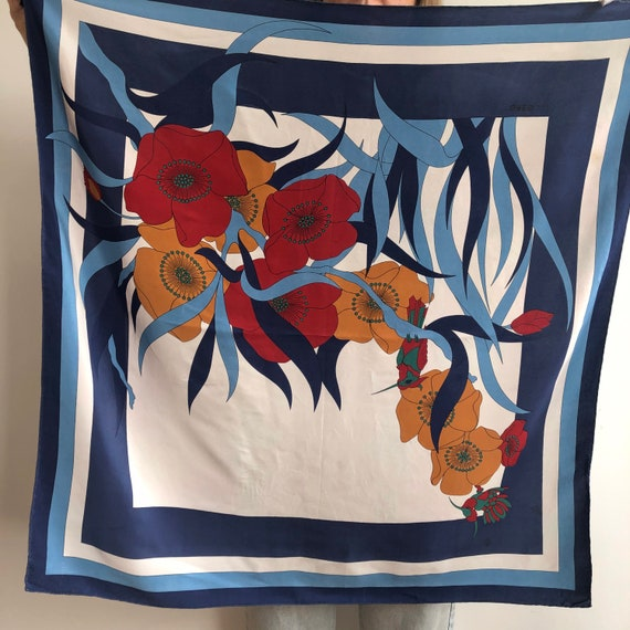 Vintage big square silk scarf. 90's era.