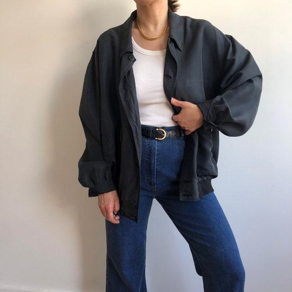 Vintage silk bomber jacket. Originally women's si… - image 1