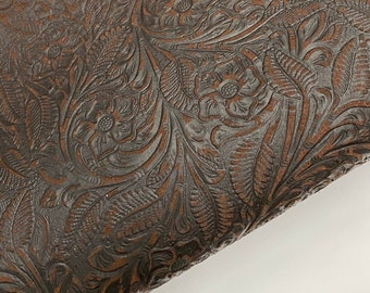 Cowhide Leather - Chocolate Brown Foral Embossed Suede Leather Sheets 3-4 oz (1.2-1.6 mm)