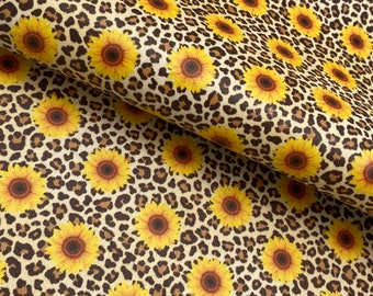 faux Leather Sheets SUNFLOWERS Floral leather to make earrings hair bows Brown glitter Flower craft leather brown glitter weave braid