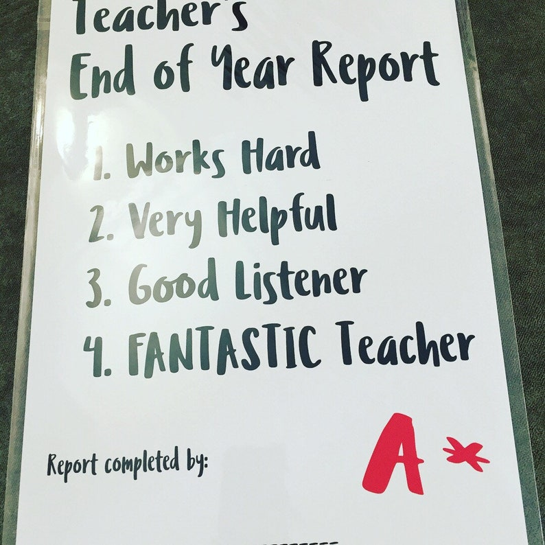 Teacher end of year report A4 print teacher appreciation gift  sign your own name  A4 print from Pretty Little Prints